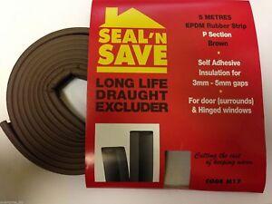 5M-FOAM-DRAUGHT-EXCLUDER-WEATHER-SEAL-STRIP-INSULATION-DOOR-WINDOW-P-SHAPE-BROWN