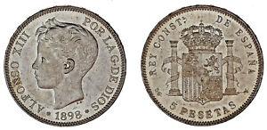 5-SILVER-PESETAS-5-PESETAS-PLATA-DURO-MADRID-ALFONSO-XIII-1898-UNC-SC