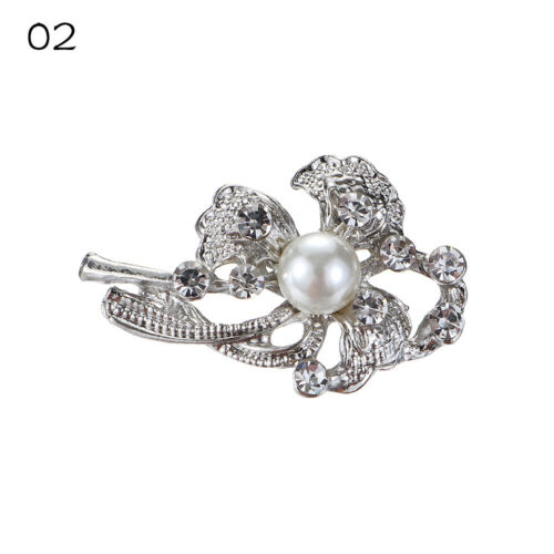 Collar Boutonniere Rhinestone Flower Simulated Pearl Women Brooch Pins Brooches