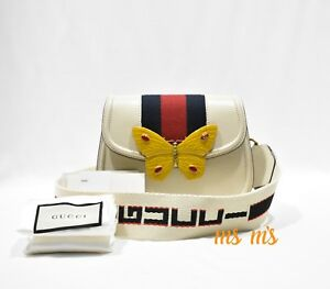 21f5632fb NWT Gucci Linea Totem Small Leather Shoulder Bag with Butterfly Web ...