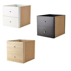 ikea kallax regal einsatz mit 2 schubladen in 3 farben. Black Bedroom Furniture Sets. Home Design Ideas