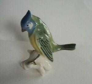Vintage Dresden Germany Blue Jay Bird Porcelain Figurine