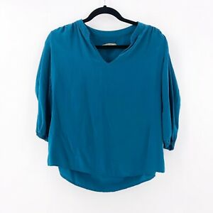 Amour-Vert-Womens-Teal-Blue-Blouse-Top-100-Silk-Size-Small-Short-Sleeve