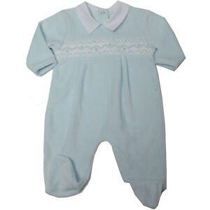 ad24714e6f12 Image is loading Baby-boy-Clothes-Spanish-Romany-Style-smocked-sleepsuit-