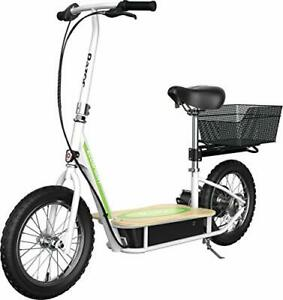 """Razor EcoSmart Metro Electric Scooter – Padded Seat, Wide Bamboo Deck, 16"""" Air-F"""