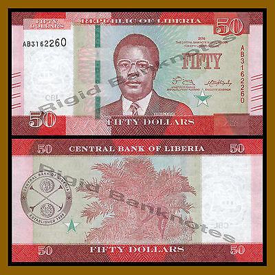 LIBERIA 50 DOLLARS 2017 P 34 NEW DATE UNC