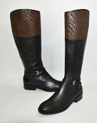 $450 COLE HAAN Genevieve Woven Black//Brown Cuff Riding Boot Size 8 New in Box