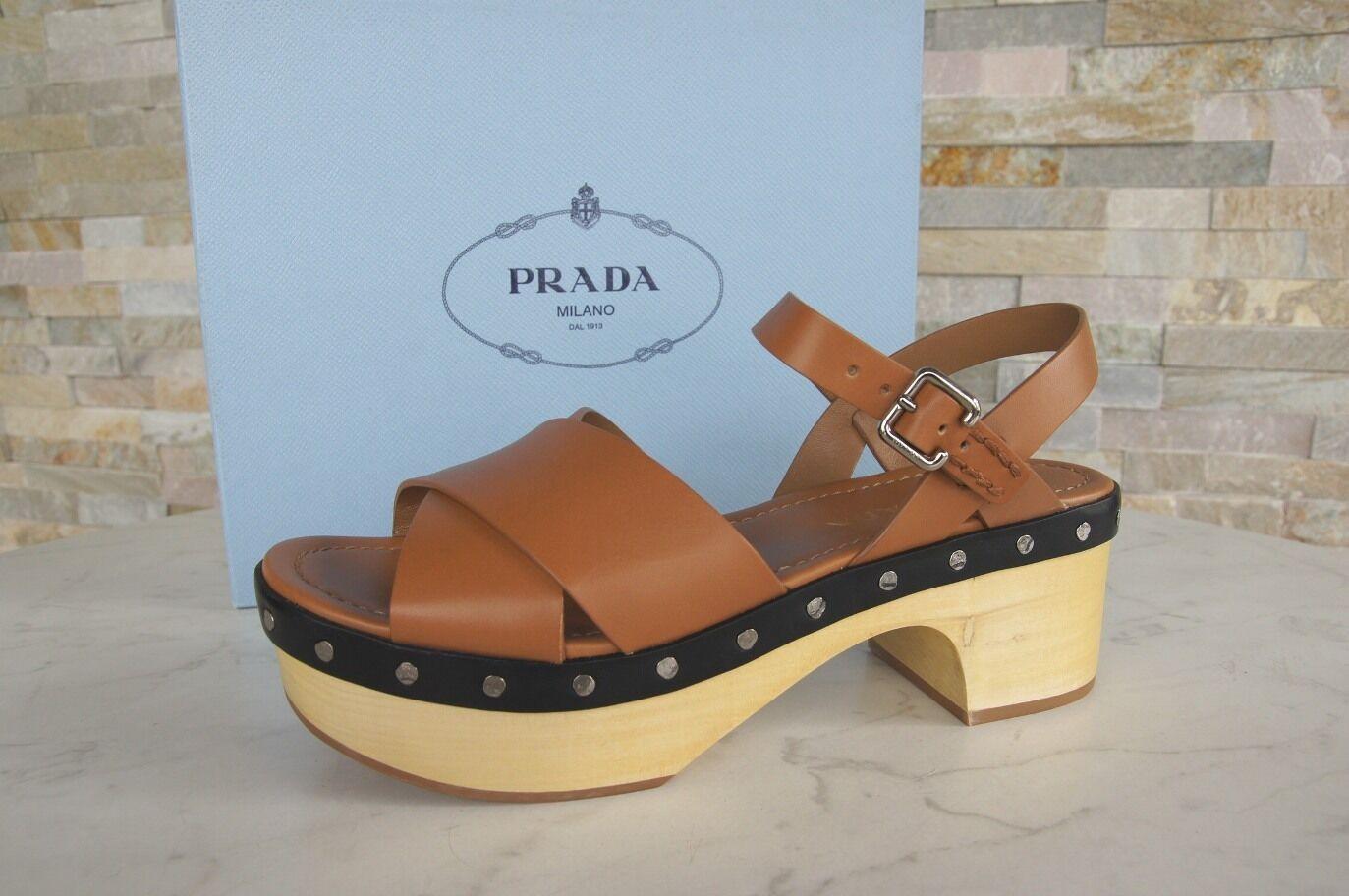 Prada madera plataforma sandalias zapatos Clogs naturaleza marrón nuevo PVP