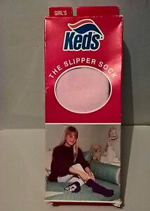 Keds-Vintage-Socks-Girl-Pink-One-Size-1981-Cozy-Non-Slip-The-Slipper-Sock-USA