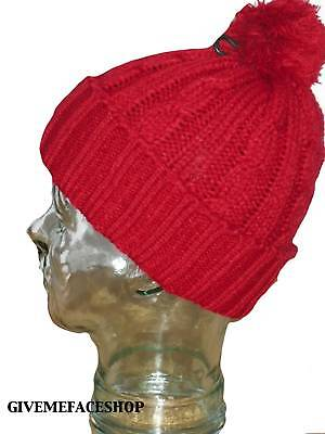 RED URBAN DESIGNER MENS /& LADIES BNWT ROLEY BOBBLE KNITTED BEANIE WOOLY HAT CAP