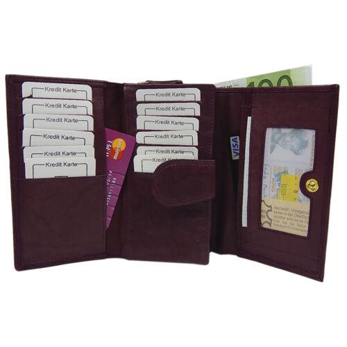 a593026d54bf1 ... Portemonnaie Damengeldbörse 25 Fächer weich Rindleder Geldbeutel 12  Karten Bordo