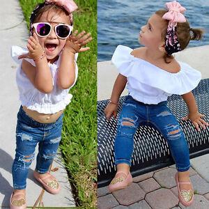 ff90f8defa5e 2PCS Toddler Baby Girl Off Shoulder T-Shirt Top + Ripped Jeans Pants ...