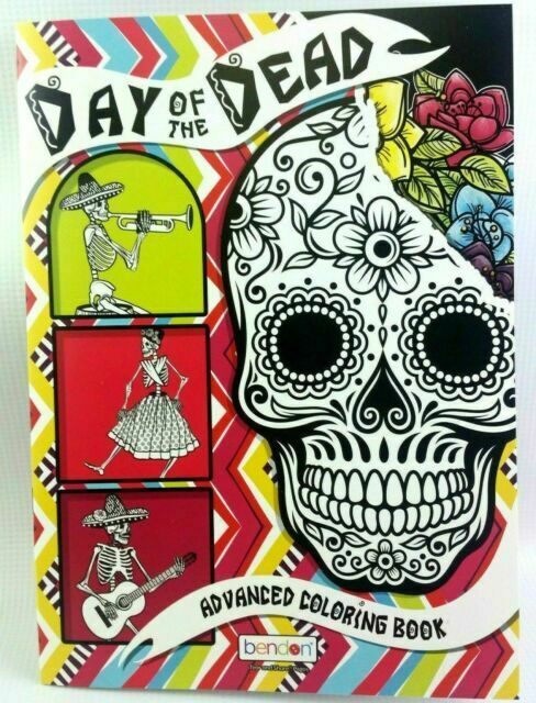 Day Of The Dead Bendon Adult Coloring Book Sugar Skulls Flowers Goth 1 For  Sale Online EBay