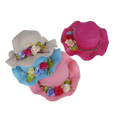 Sweet Girls Toddler Summer Beach Lovely Cap Children Flowers Straw Hat  HC