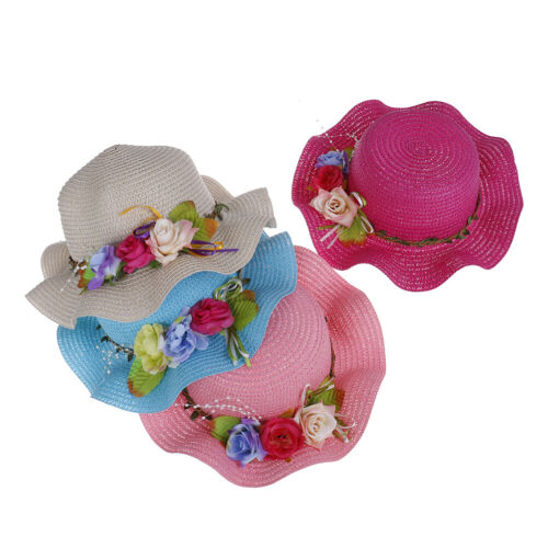 Lovely kids girls summer flower breathable hat straw sun hat children hats GW