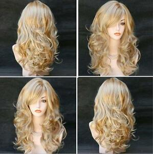 Mode-Femme-Milieu-Longue-Boucles-Perruque-Ondulee-Blond-Frise-Cheveux-Casquette