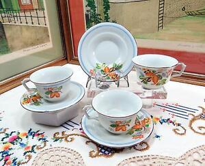 3-Kikusui-China-Hergestellt-in-Japan-Blau-Streifen-und-Blumen-5-4cm-Tasse-amp-Sets