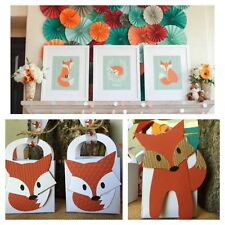 12 Woodland Fox Baby shower Thank You Favor boxes Boy Or Girl Customizable