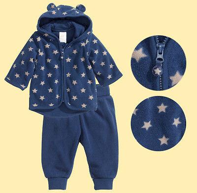 H&M Baby Boy Girl Unisex Blue star microfleece lined Hood Jacket Pants 2pc Set