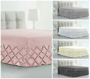 Fitted-Pintuck-Valance-Sheet-Plain-Dyed-Poly-Cotton-Bed-Sheet-Single-Double-King