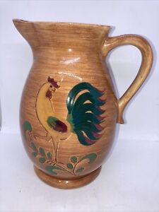 "VINTAGE PENNSBURY POTTERY ROOSTER CERAMIC WATER BEVERAGE PITCHER 10""DARK COLOR"