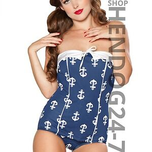 BETTIE-PAGE-AHOY-1950-039-S-PIN-UP-NAVY-WHITE-ANCHORS-SWIMSUIT-MSRP-98-PLUS-SIZE-16