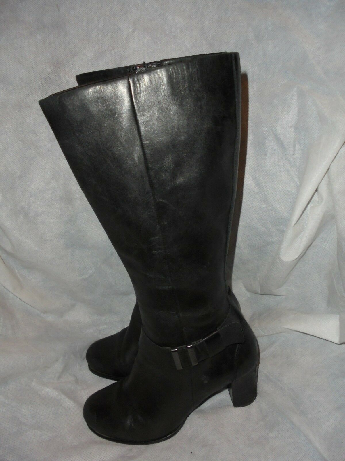 ECCO WOMEN'S BLACK LEATHER ZIP KNEE HIGH  BOOT SIZE UK 5 EU 38 VGC