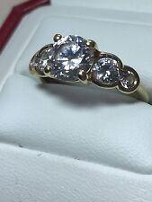 14ct. 14k. 585. Yellow Gold, Simulated Diamond Ring. Size L. U.S. Size 6