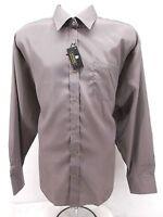 Mens Vittorino Button Up Dress Shirt Large 16 X 34/35 Gray Long Sleeve