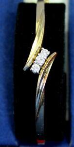 Gorgeous-Estate-Heavy-amp-Well-Made-14K-Gold-50-Ct-Diamond-Three-Stone-Bracelet