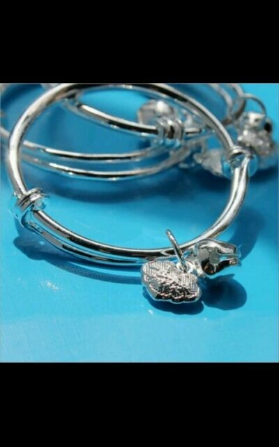 1 X BABY SILVER BANGLE BRACELET ADJUSTABLE BOY GIRL 0 6 YEARS Birthday GIFT