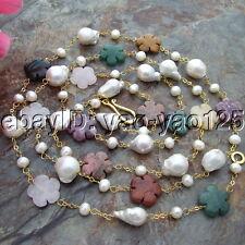 S092306 60'' 13x18MM White Keshi Pearl Jasper Flower Necklace