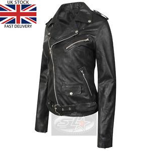 UK Stock Womens Black Vintage Real Leather Ladies Biker Brando Fashion Jacket