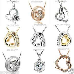 Love-Heart-Crystal-Rhinestone-Silver-Gold-Alloy-Chain-Pendant-Necklace-her-Gift