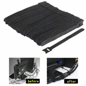 50Pcs-Reusable-Black-Cable-Cord-Nylon-Strap-Hook-Loop-Ties-Tidy-Organiser-Tool
