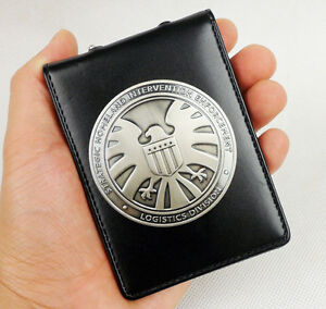 Agents of shield S.H.I.E.L.D. Metal SHIELD Badge Pin & ID Holder Wallet-D507