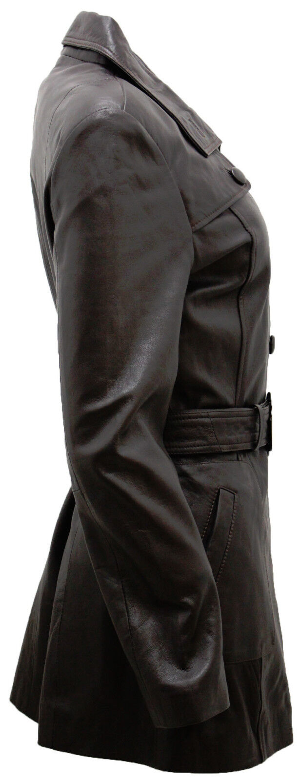 Women's Classic Chocolate Brown Leather Leather Leather Military Belted Peacoat 1a6ef8