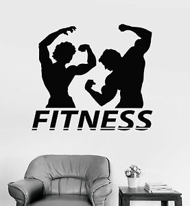 Vinyl Wall Decal Fitness Couple Muscle Gym Bodybuilding