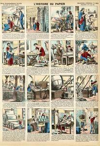 """""""L'HISTOIRE DU PAPIER"""" Imagerie d'Epinal originale n° 3819 entoilée début 1900   eBay"""