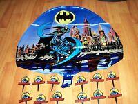 2pc Lot Batman Forever Mylar Balloon & 12pc Cake Picks Party Goods Multi-color