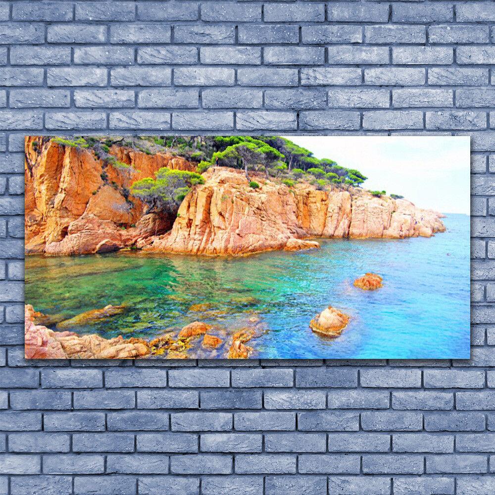Leinwand-Bilder Wandbild Leinwandbild 140x70 Gesteine Meer Landschaft