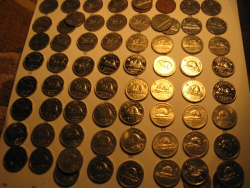 Almost Complete Collection Canada Nickels 5 Cent Coins Most Varieties Included.