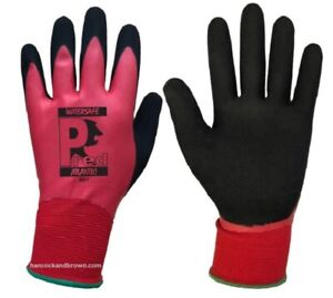 10 Pairs of Pred Atlantic Watersafe Workwear Gloves Red//Black Size 10 Waterproof