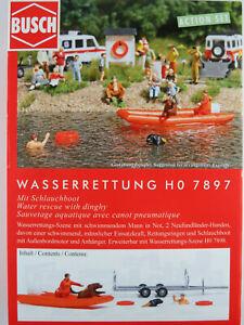 """Busch H0 7897 ACTION SET """"Wasserrettung"""" mit Schlauchboot 1:87/H0 NEU/OVP"""