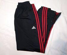 Vtg Adidas Track Pants sz M Full Snap Breakaway Black Red Shiny EUC Run DMC