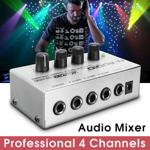 MX400 Micromix Low Voice 4 Channels Mono Line Studio Audio Mixer US 12VPortable