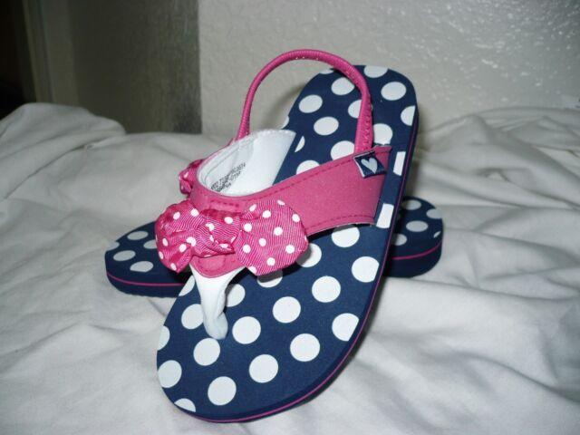 ffbd95e45 Wonder Nation Toddler Girls Flip Flops W Back Strap Blue Pink Dots Size 7/8