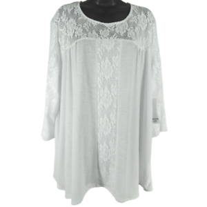 NWT-Southern-Lady-White-Floral-Lace-3-4-Sleeve-Shirt-Women-039-s-Size-2X