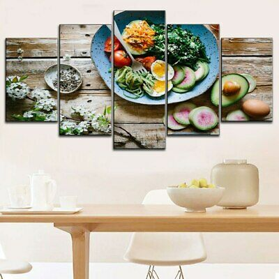 Fruit Salad Mix Cooking 5 Pcs Canvas Wall Art Print Picture Poster Home Decor