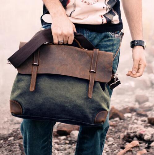 Men Retro Canvas Messenger Bag Leather Shoulder Bag Handbag Briefcase Tote nEW